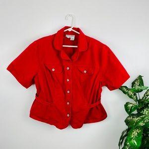 Vintage Betsy's Things Red Crop Jean Jacket